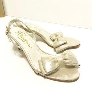 ROWEN Metallic Slingback Bow Open Toe Shoes Heels